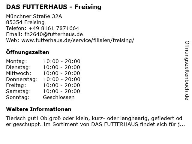 Das Futterhaus in Freising: Adresse und Öffnungszeiten
