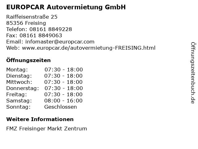 EUROPCAR Autovermietung GmbH in Freising: Adresse und Öffnungszeiten