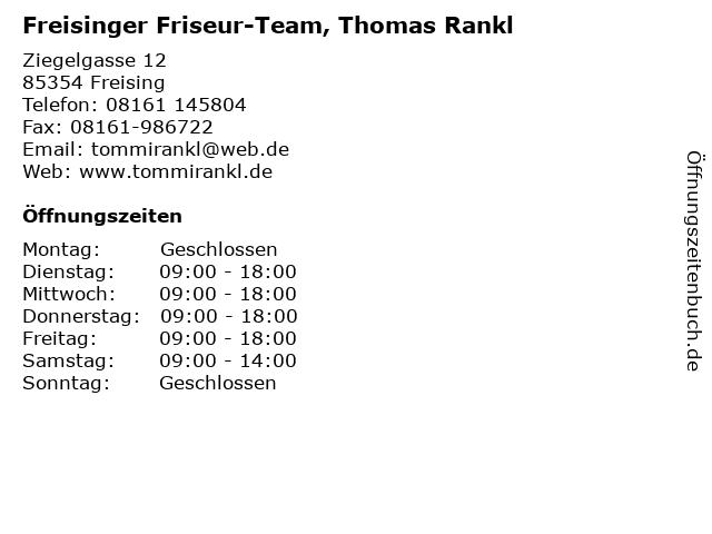 Freisinger Friseur-Team, Thomas Rankl in Freising: Adresse und Öffnungszeiten