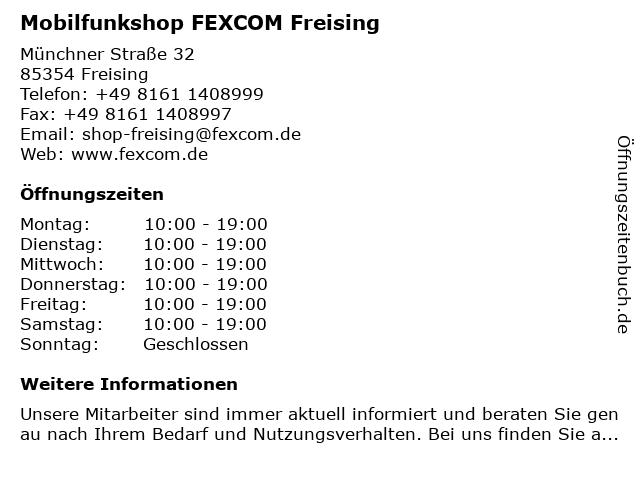 Mobilfunkshop FEXCOM Freising in Freising: Adresse und Öffnungszeiten