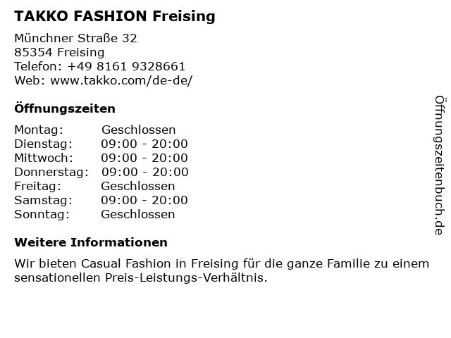 Takko Fashion in Freising: Adresse und Öffnungszeiten