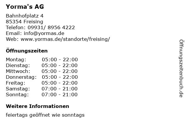 Yorma's AG in Freising: Adresse und Öffnungszeiten