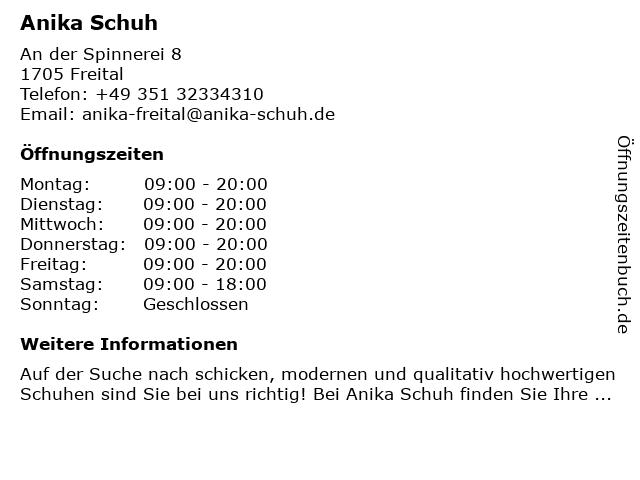 anika Schuhhandels GmbH & Co. KG in Freital: Adresse und Öffnungszeiten