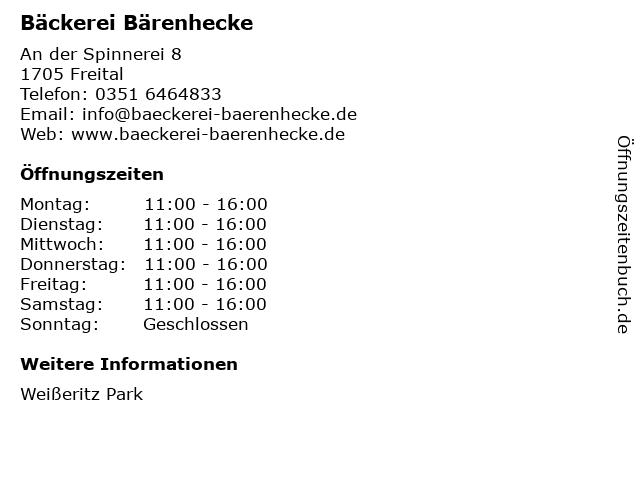 Bäckerei Bärenhecke in Freital: Adresse und Öffnungszeiten