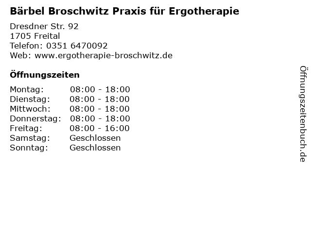 Bärbel Broschwitz Praxis für Ergotherapie in Freital: Adresse und Öffnungszeiten