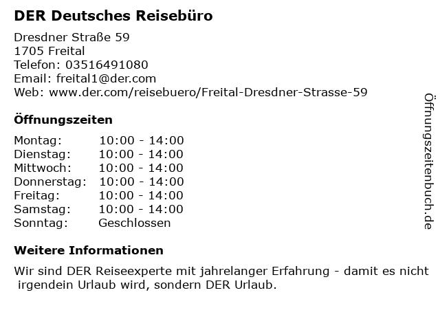 DER Deutsches Reisebüro in Freital: Adresse und Öffnungszeiten