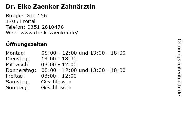 Dr. Elke Zaenker Zahnärztin in Freital: Adresse und Öffnungszeiten