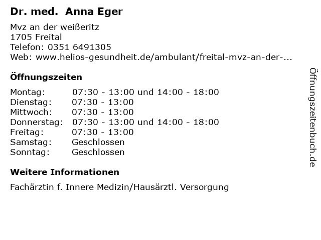 Dr. med. Anna Eger in Freital: Adresse und Öffnungszeiten