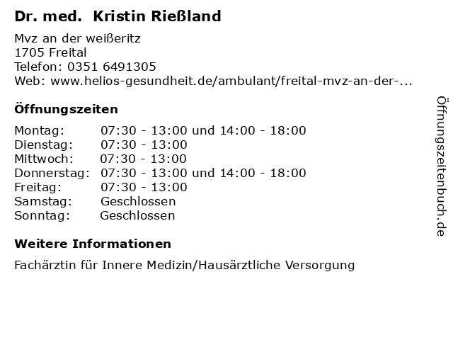 Dr. med. Kristin Rießland in Freital: Adresse und Öffnungszeiten