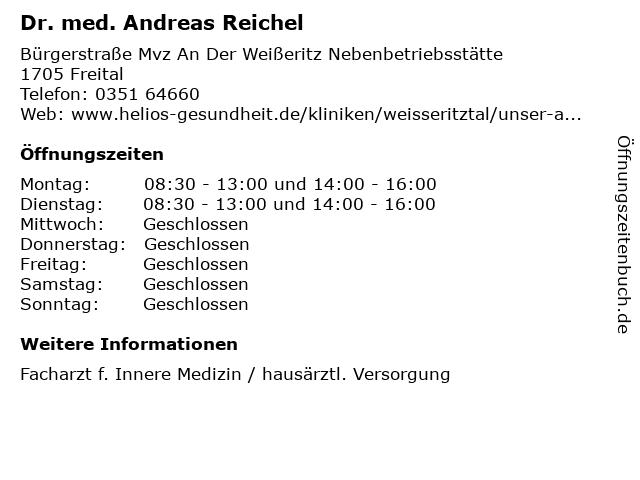 Dr. med. Andreas Reichel in Freital: Adresse und Öffnungszeiten