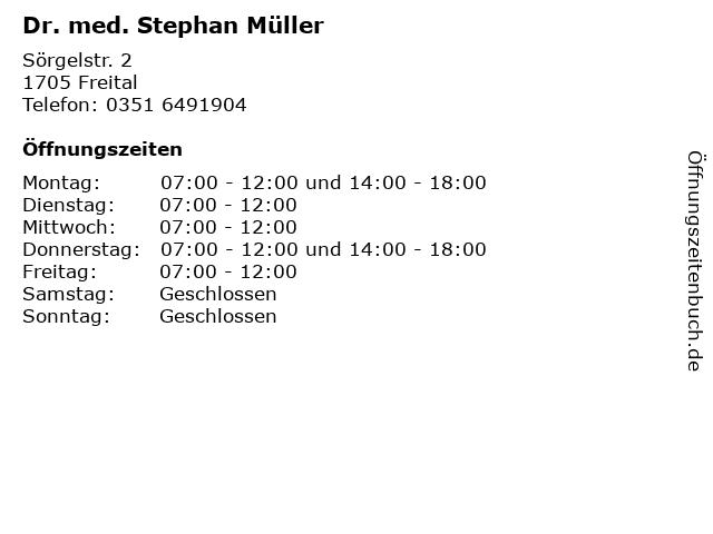 Dr. med. Stephan Müller in Freital: Adresse und Öffnungszeiten