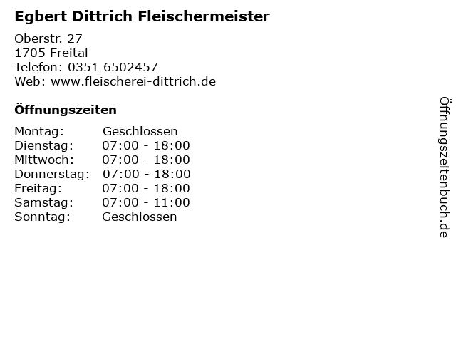 Egbert Dittrich Fleischermeister in Freital: Adresse und Öffnungszeiten