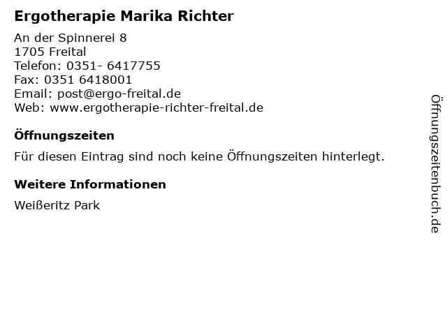 Ergotherapie Marika Richter in Freital: Adresse und Öffnungszeiten