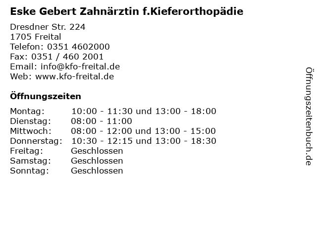 Eske Gebert Zahnärztin f.Kieferorthopädie in Freital: Adresse und Öffnungszeiten