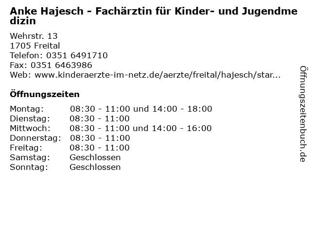 FÄ f. Kinder- und Jugendmedizin, Anke Hajesch in Freital: Adresse und Öffnungszeiten