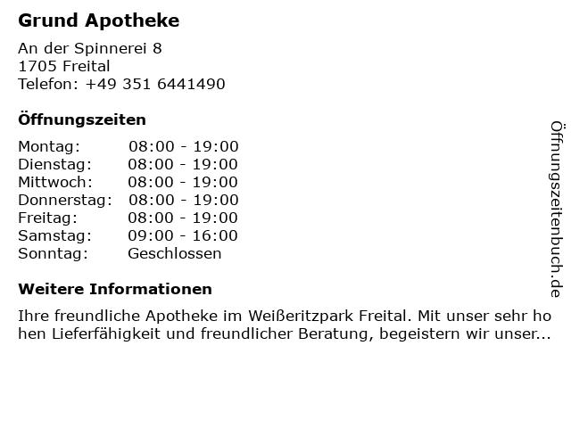 Grund-Apotheke in Freital: Adresse und Öffnungszeiten
