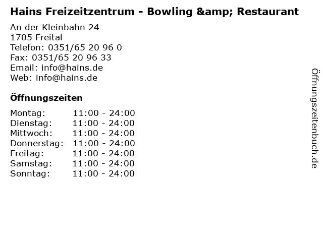 Hains Freizeitzentrum - Bowling & Restaurant in Freital: Adresse und Öffnungszeiten