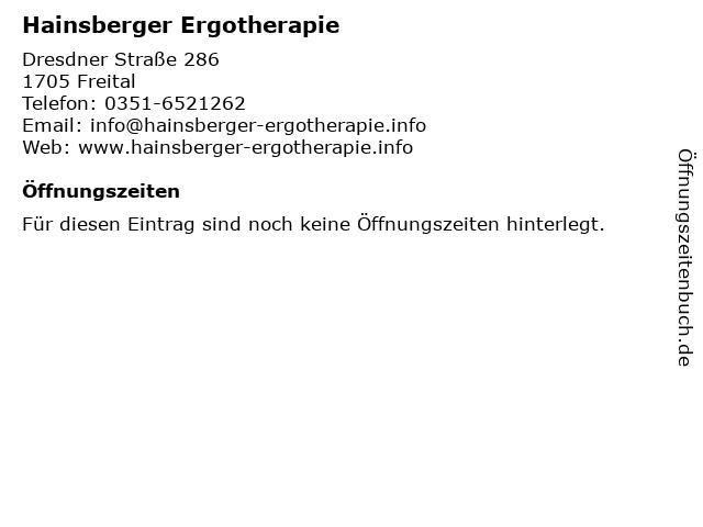Hainsberger Ergotherapie in Freital: Adresse und Öffnungszeiten