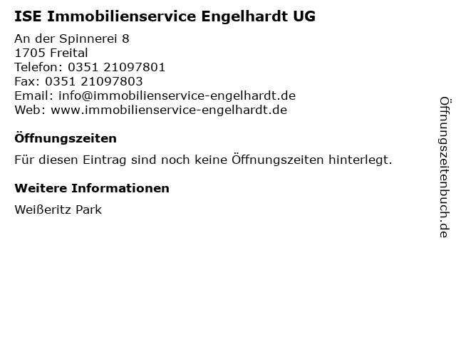 ISE Immobilienservice Engelhardt UG in Freital: Adresse und Öffnungszeiten