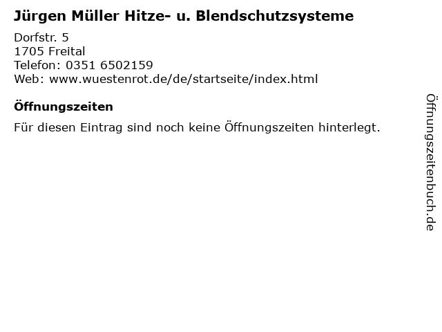 Jürgen Müller Hitze- u. Blendschutzsysteme in Freital: Adresse und Öffnungszeiten
