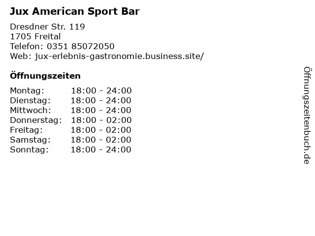 Jux American Sport Bar in Freital: Adresse und Öffnungszeiten