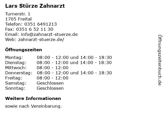 Lars Stürze Zahnarzt in Freital: Adresse und Öffnungszeiten