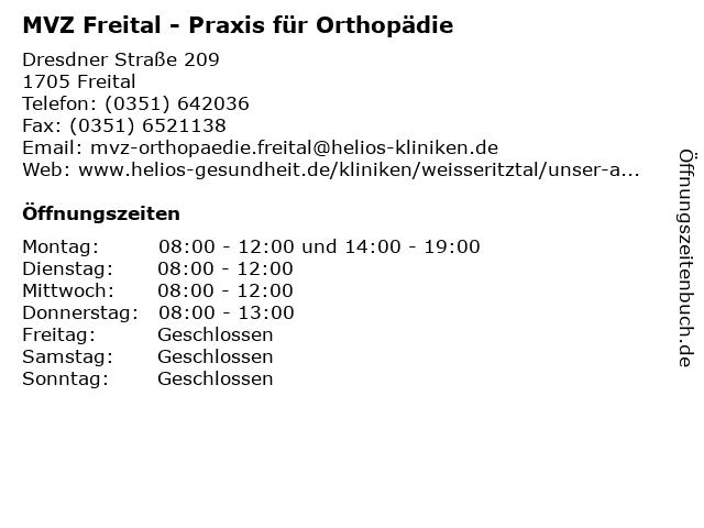 MVZ Freital - Praxis für Orthopädie in Freital: Adresse und Öffnungszeiten