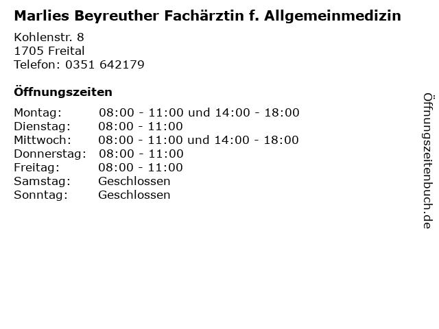 Marlies Beyreuther Fachärztin f. Allgemeinmedizin in Freital: Adresse und Öffnungszeiten
