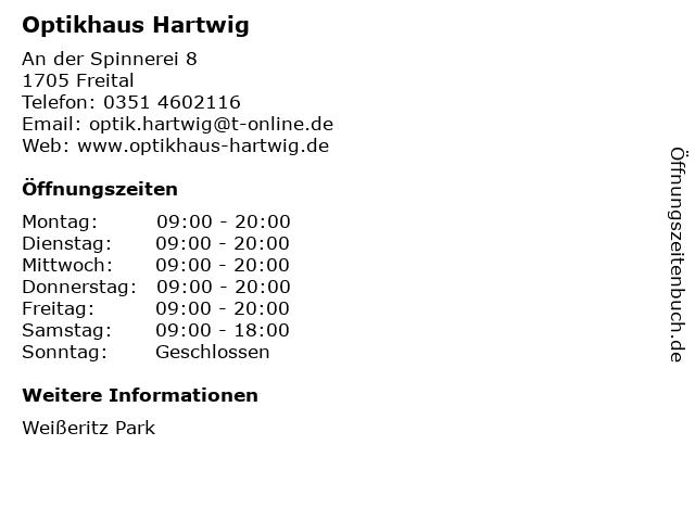 Optikhaus Hartwig in Freital: Adresse und Öffnungszeiten