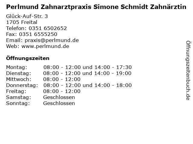 Perlmund Zahnarztpraxis Simone Schmidt Zahnärztin in Freital: Adresse und Öffnungszeiten