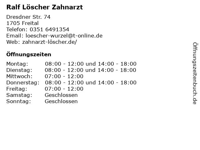Ralf Löscher Zahnarzt in Freital: Adresse und Öffnungszeiten