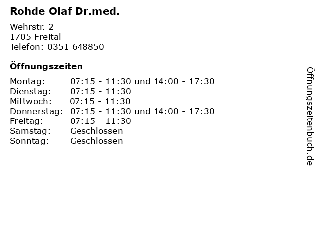Rohde Olaf Dr.med. in Freital: Adresse und Öffnungszeiten