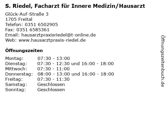 S. Riedel, Facharzt für Innere Medizin/Hausarzt in Freital: Adresse und Öffnungszeiten