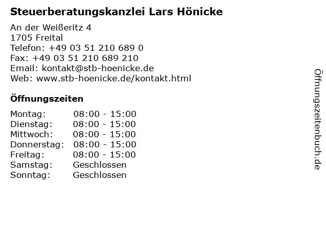 Steuerberatungskanzlei Lars Hönicke in Freital: Adresse und Öffnungszeiten