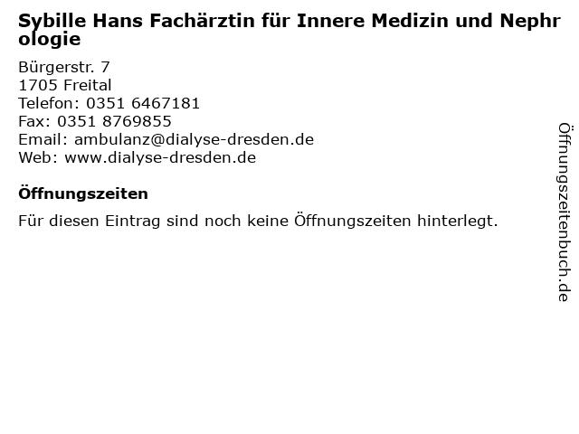 Sybille Hans Fachärztin für Innere Medizin und Nephrologie in Freital: Adresse und Öffnungszeiten