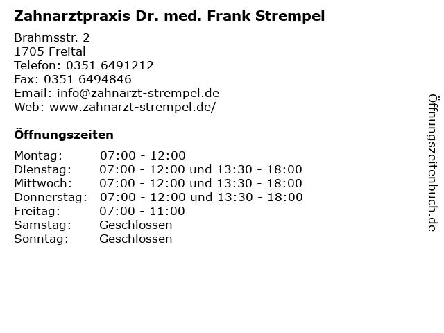 Zahnarztpraxis Dr. med. Frank Strempel in Freital: Adresse und Öffnungszeiten