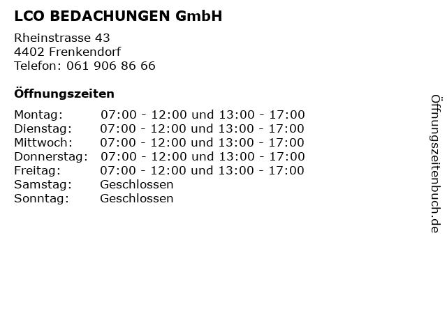 LCO BEDACHUNGEN GmbH in Frenkendorf: Adresse und Öffnungszeiten