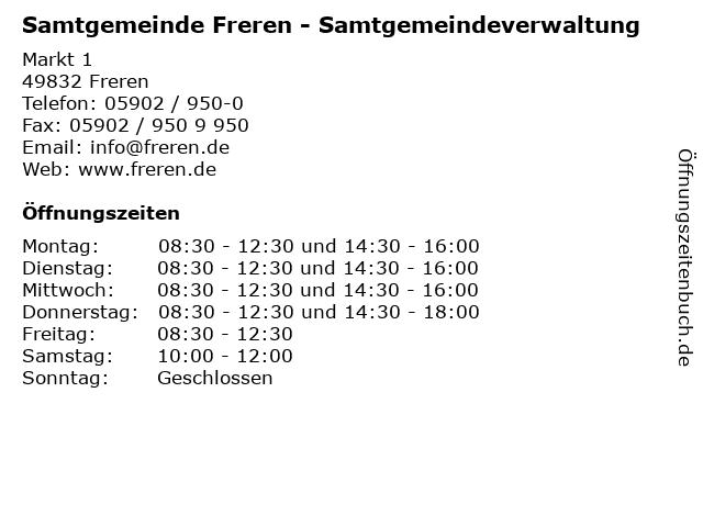 Samtgemeinde Freren - Samtgemeindeverwaltung in Freren: Adresse und Öffnungszeiten