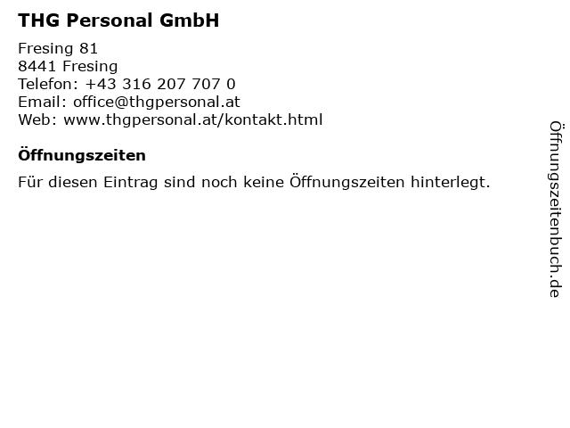 THG Personal GmbH in Fresing: Adresse und Öffnungszeiten