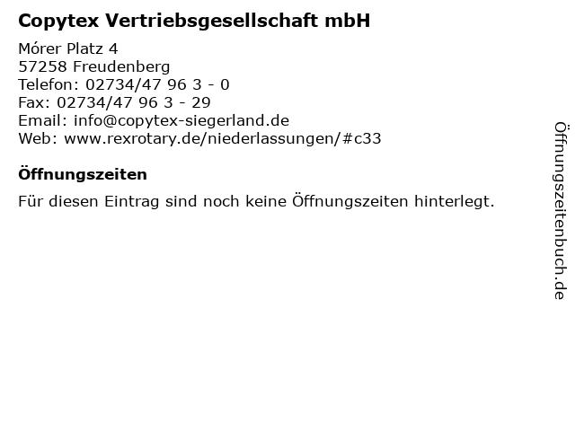Copytex Vertriebsgesellschaft mbH in Freudenberg: Adresse und Öffnungszeiten