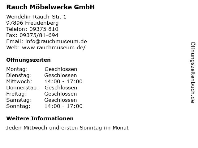 ᐅ öffnungszeiten Rauch Möbelwerke Gmbh Wendelin Rauch Str 1 In