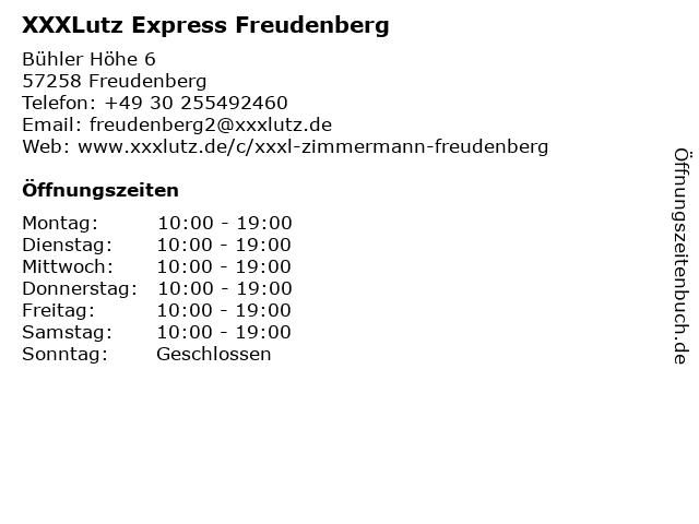 ᐅ Offnungszeiten Xxxlutz Zimmermann Express Freudenberg Buhler