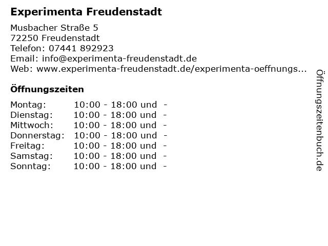Experimenta Freudenstadt in Freudenstadt: Adresse und Öffnungszeiten