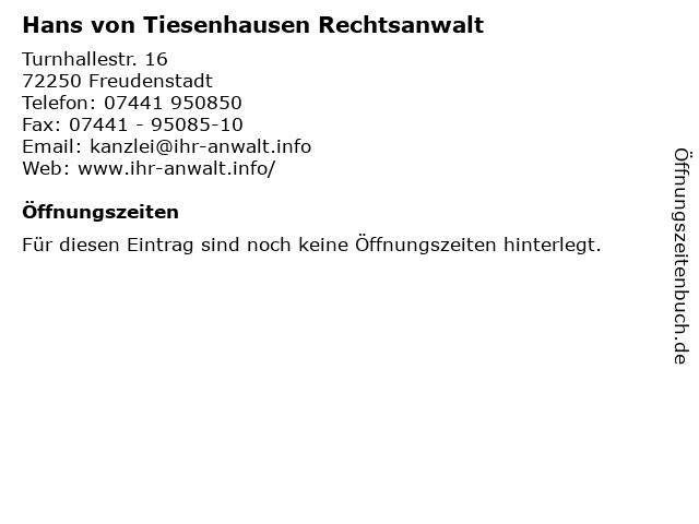 Hans von Tiesenhausen Rechtsanwalt in Freudenstadt: Adresse und Öffnungszeiten