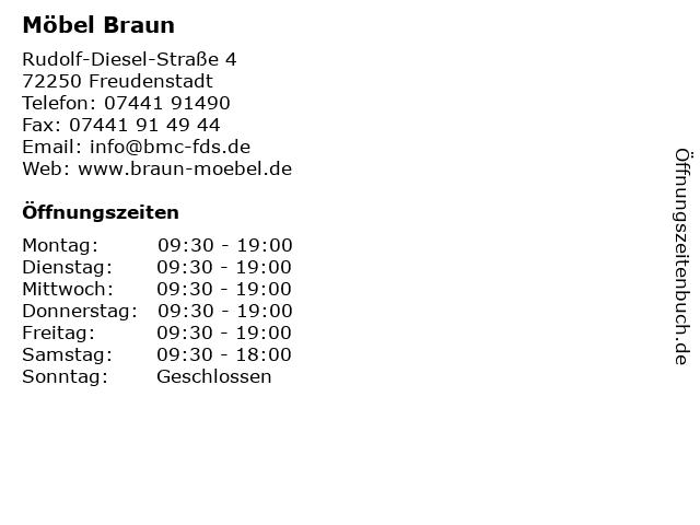 ᐅ öffnungszeiten Möbel Braun Rudolf Diesel Straße 4 In Freudenstadt