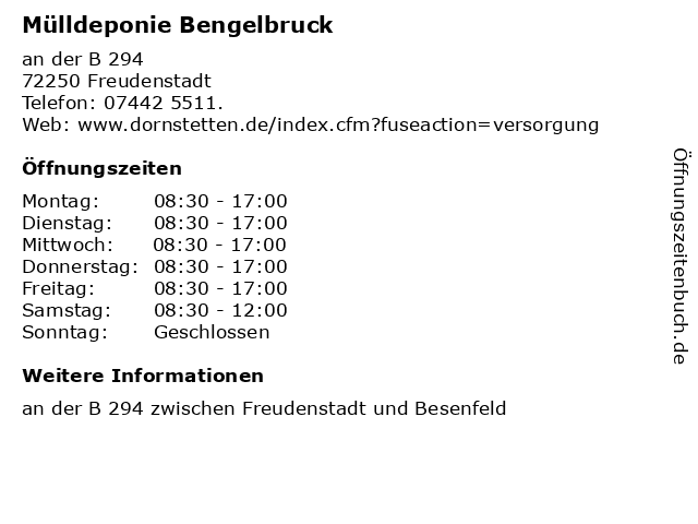 Mülldeponie Bengelbruck in Freudenstadt: Adresse und Öffnungszeiten