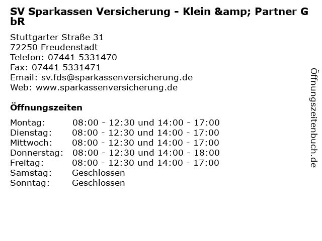 SV Sparkassen Versicherung - Klein & Partner GbR in Freudenstadt: Adresse und Öffnungszeiten