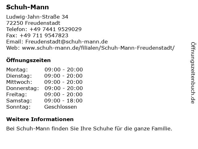 Schuh-Mann in Freudenstadt: Adresse und Öffnungszeiten