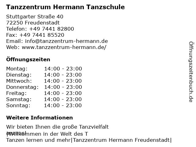 Tanzzentrum Hermann Tanzschule in Freudenstadt: Adresse und Öffnungszeiten