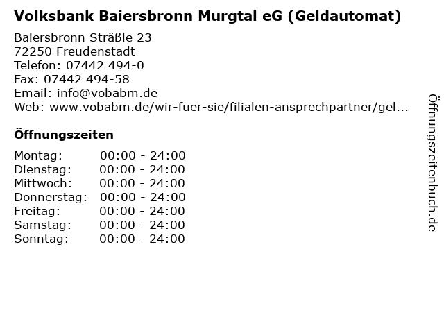 Volksbank Baiersbronn Murgtal eG (Geldautomat) in Freudenstadt: Adresse und Öffnungszeiten